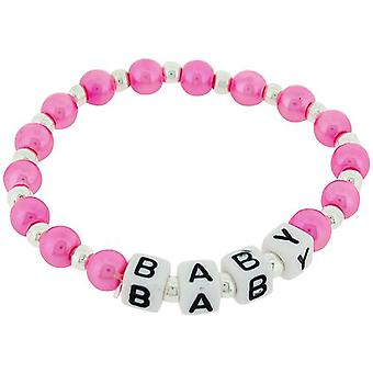 The Olivia Collection Pink Simulated Pearl Baby Christening Bracelet 6 Inch