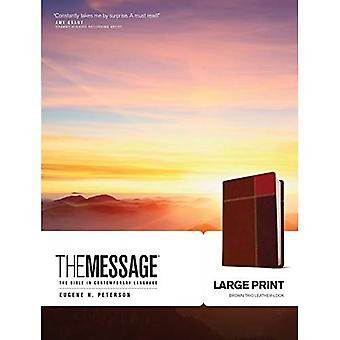 The Message Large Print Brown Trio Leather-Look