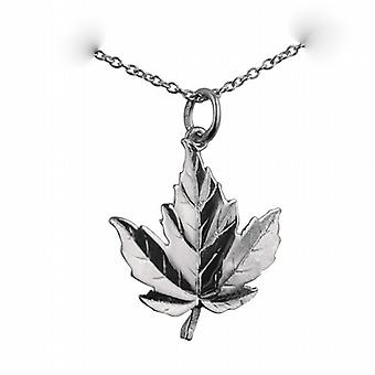 Silver 22x19mm solid Maple Leaf Pendant with a rolo Chain 14 inches Only Suitable for Children