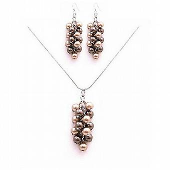 Perfect Prom Jewelry Brown Bronze Pearls Swarovski Pearls Necklace Set