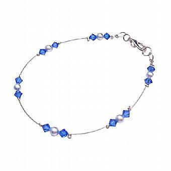 Любовник ювелирных Lite синий жемчуг ж / Сапфир кристаллов проволока браслет