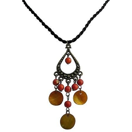 Bold Bright Orange Color Beads & Shells Girlfriend Gift Cute Necklace