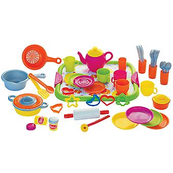 Gowi Toys Dinner Service Set (Pink - 52 Pieces) Pretend Play Set Children Kids