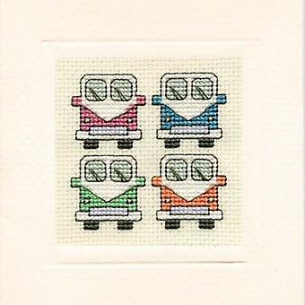 Textile Heritage Counted Cross Stitch Campervans Card