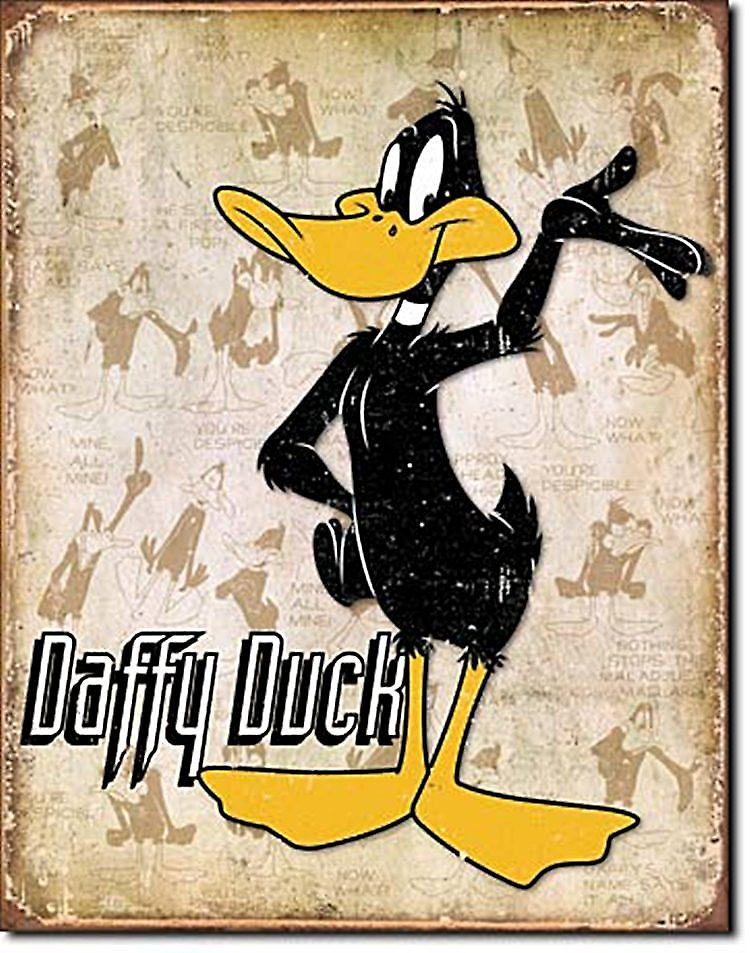Daffy Duck Metal Sign (brown panel bgrd)  (ga)