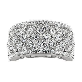 14K wit goud Moissanite door Charles & Colvard 2.5mm vierkante Fashion Ring, 3.74cttw DEW