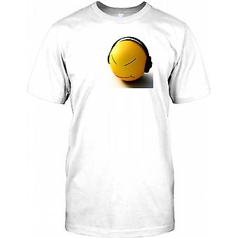 Smiley Face With Headphones - Cool Mens T Shirt