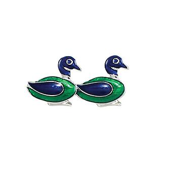 Eternal Collection Two Little Ducks Green And Blue Enamel Silver Tone Brooch
