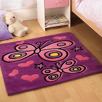 Flair Kiddy Play Butterfly Purple Childrens Rug 90x90cm