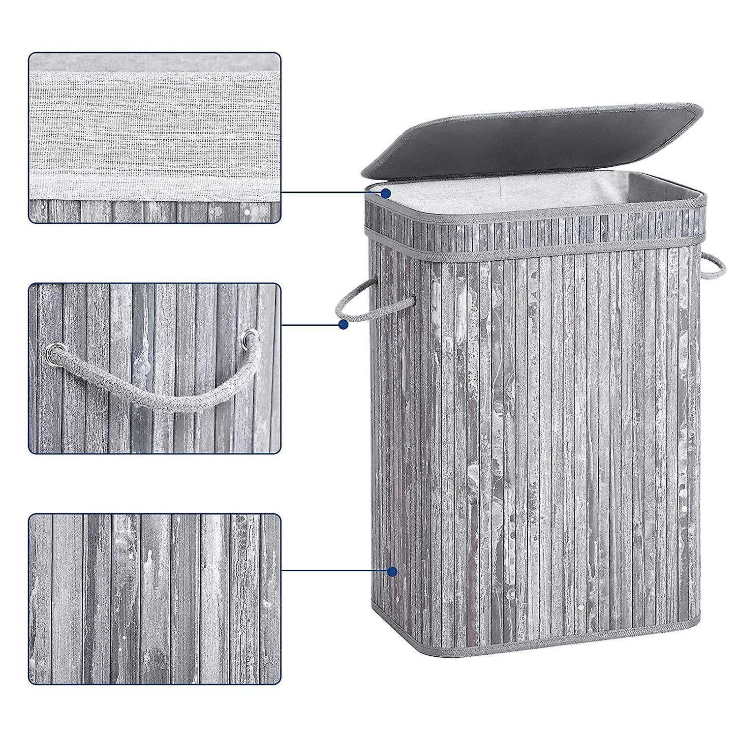 Bamboo Storage Basket/Laundry Hamper-72l-Grey