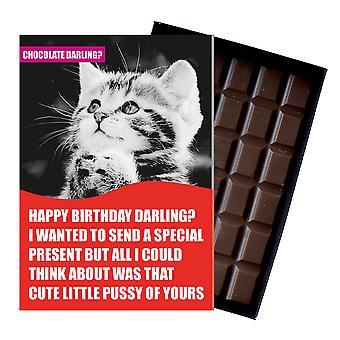 Funny Cat ägare Rude födelsedag gåva kvinnor boxed choklad gratulationskort present CDL123