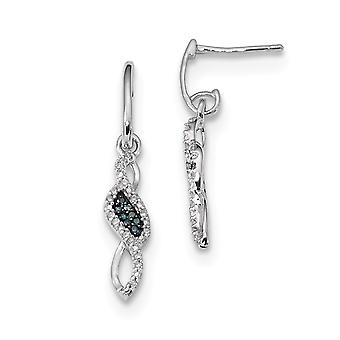 925 Sterling Silver Dangle Polished Prong set Gift Boxed Rhodium-plated Blue and White Diamond Earrings