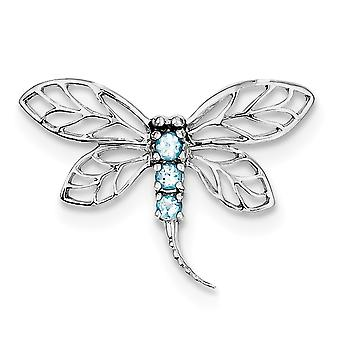 925 Sterling Silver Open Polished Prong set Rhodium-plaqué Rhodium Lt Sw Blue Topaz Dragonfly Pendant
