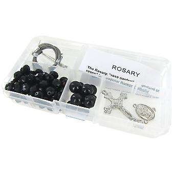 Crystal & Pearl Rosary Bead Kit Makes 1 Black Crystal Beads Black Pearls Cr 12 12