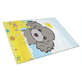 Silver Gray Poodle Summer Beach Glass Cutting Board Large BB2127LCB