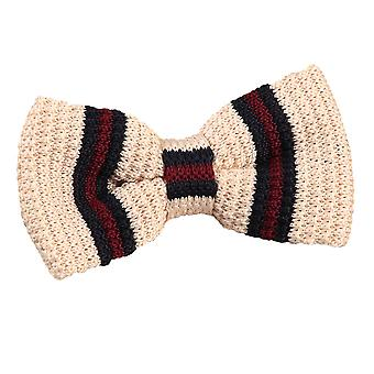 Knitted Cream with Burgundy & Navy Thin Stripe Bow Tie