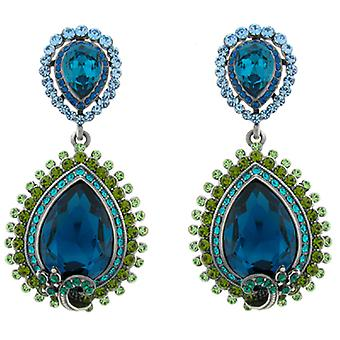 Butler & Wilson Aqua Blue Crystal Teardrop Shape Earrings