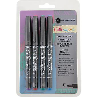 Manuscript CalliCreative Markers 2.4mm 4/Pkg-Blue, Green, Red & Purple MM6645