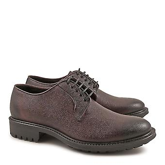 Handmade burgundy leather derby shoes for men