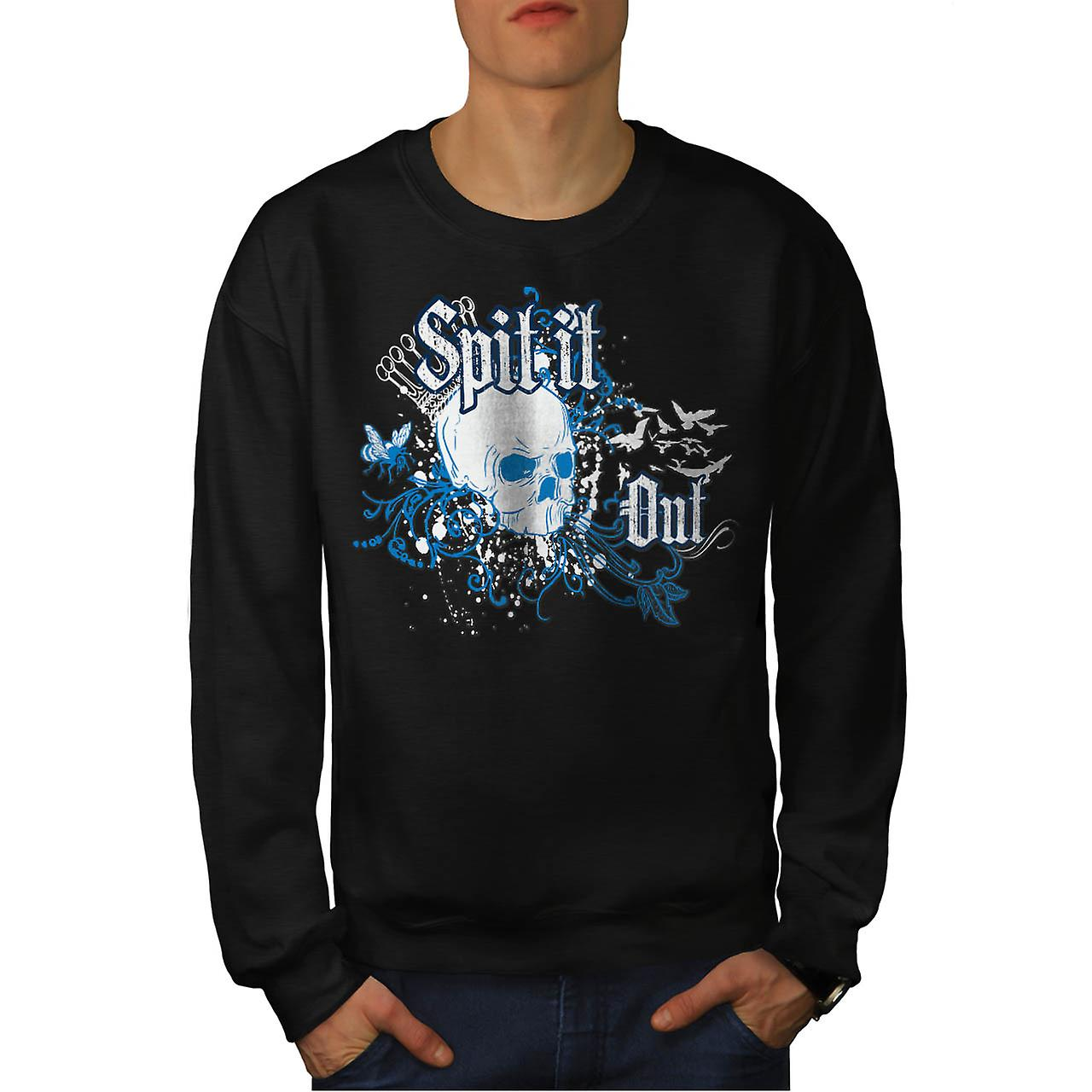 Spit It Out Queen Skull Men Black Sweatshirt | Wellcoda