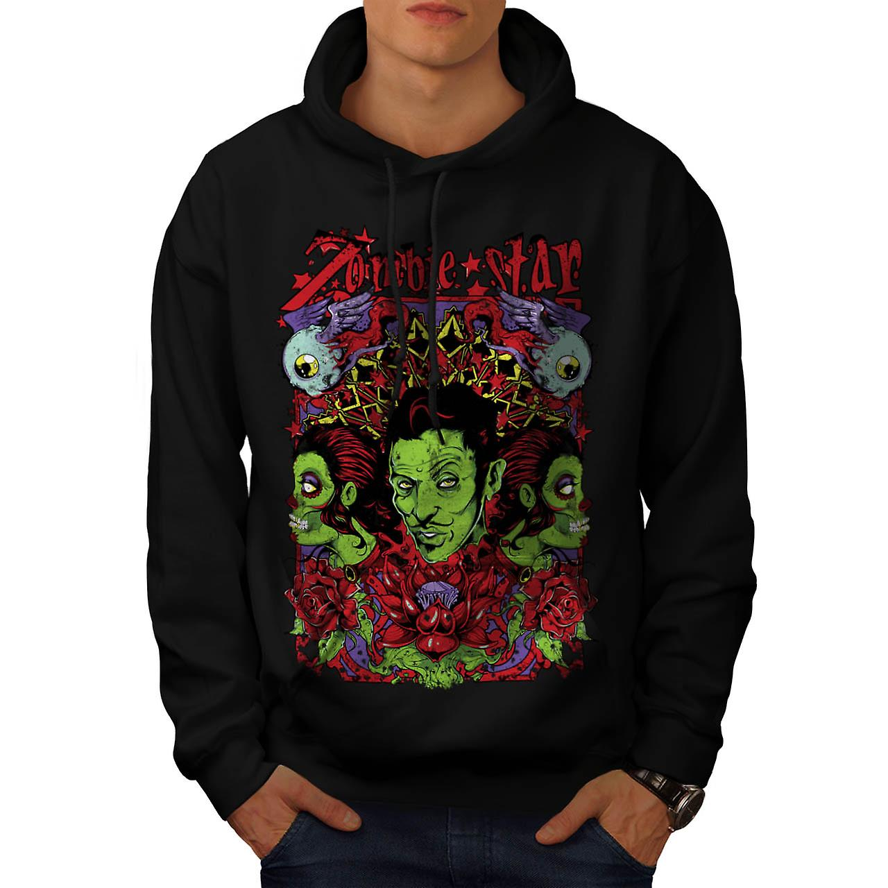 Zombie Star Group Wax Eye Angel Men Black Hoodie | Wellcoda
