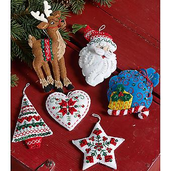 Nordic Santa Ornaments Felt Applique Kit-3.5
