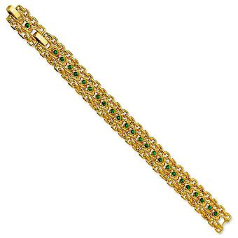 Gold-plated Swar Crystal Green 7inch With 1in ext Rope Link Bracelet