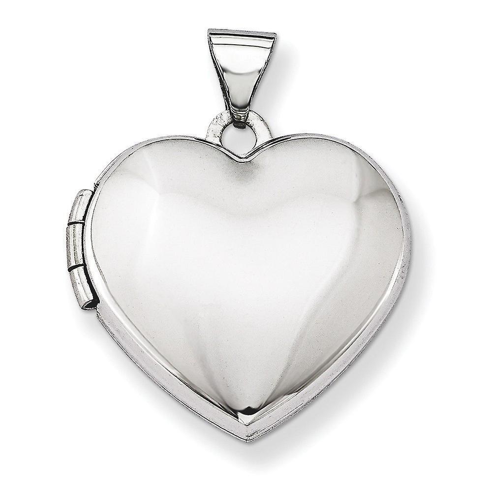 14k or blanc poli décravatent 2 photos au dôme-Locket coeur - 2,2 grammes