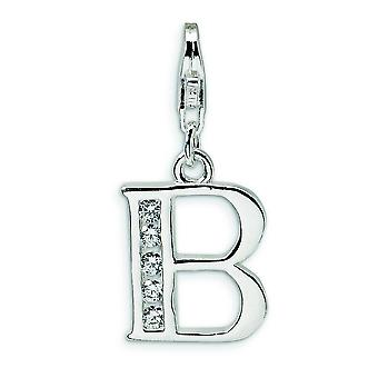 Sterling Silver CZ Letter B With Lobster Clasp Charm - Measures 24x12mm