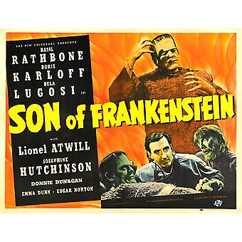 Son Of Frankenstein Top Boris Karloff Bottom From Left Boris Karloff Basil Rathbone Bela Lugosi 1939 Movie Poster Masterprint