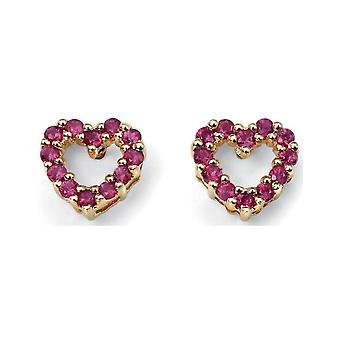 Jewel-Mon - D920r - earring Ruby heart in 375/1000 gold