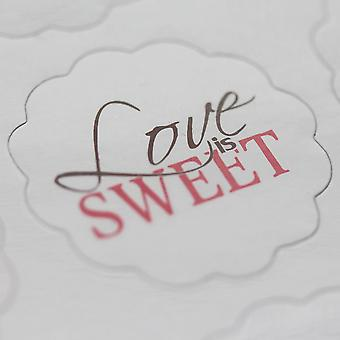 White Scalloped Edge Love Is Sweet Stickers - Wedding Sweet Bar - 48 Stickers