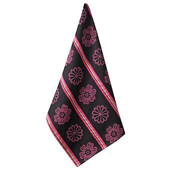 Mod Floral Pink Flowers Retro Look Print Jacquard Kitchen Dish Towel