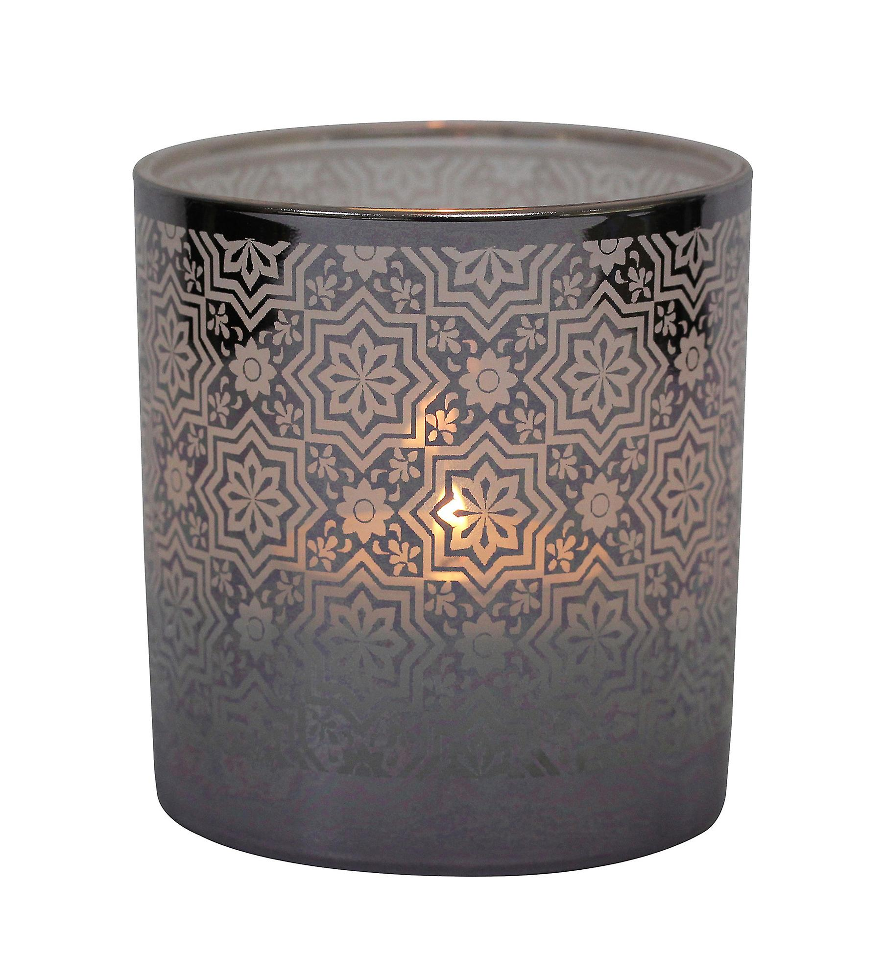 Table Tech Cordoba Glass Votive Candle Holder, Silver