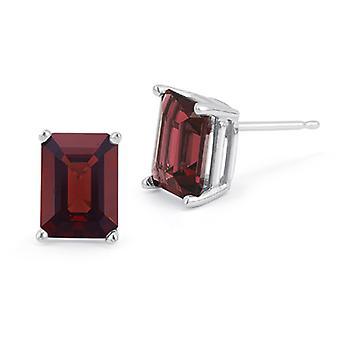 3.40 Carat Emerald-Cut Garnet Stud Earrings, 14K White Gold