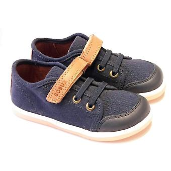 Bobux Bobux Chill | Boys Navy Leather And Canvas Shoes
