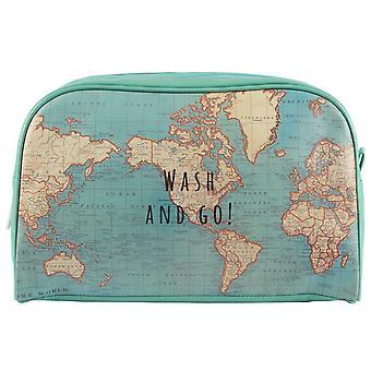 Sass y Belle Vintage mapa lavado & Go lavar el bolso para