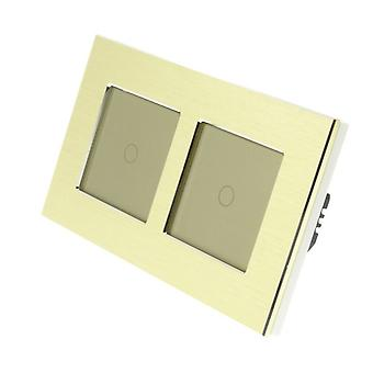 I LumoS Gold Brushed Aluminium Double Frame 2 Gang 2 Way Remote & Dimmer Touch LED Light Switch Gold Insert
