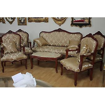 baroque salon set suite antique style 4 armchair carved 1 sofa 1 couchtable  with marble AlSa0339