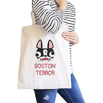 Boston Terror Terrier Natural Canvas Foldable Tote Dog Owner Gift