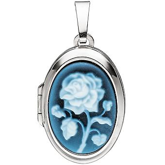 Medallion oval 925 sterling silver 1 blue agate gem to open