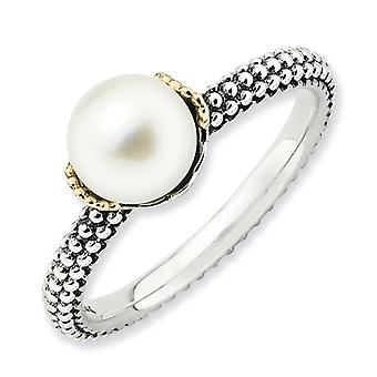 Sterling Silver and 14k 7.0-7.5mm White Freshwater Cultured Pearl Ring - Ring Size: 5 to 10