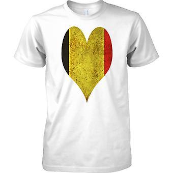 Belgischer Flagge Liebe Herz Grunge-Effekt - T-Shirt für Herren