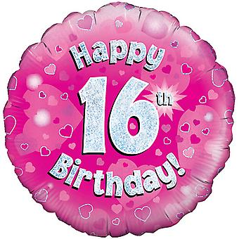 Oaktree 18 Inch Happy 16th Birthday Pink Holographic Balloon
