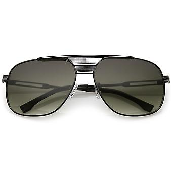 Oversized Aviator zonnebril geperforeerde Triple dwarsbalk Square Lens 60mm