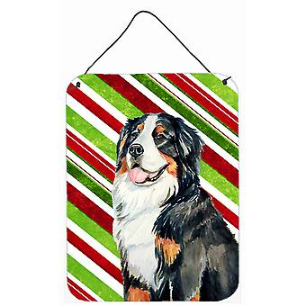 Bernese Mountain Dog Candy Cane Holiday Christmas Wall or Door Hanging Prints