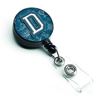Letter D Sea Doodles Initial Alphabet Retractable Badge Reel