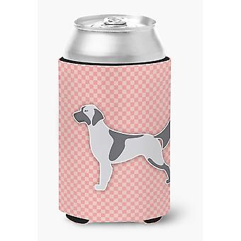 English Setter Checkerboard Pink Can or Bottle Hugger