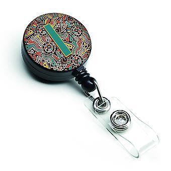 De letter I Retro Tribal alfabet eerste intrekbare Badge Reel
