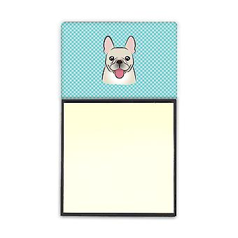 Checkerboard Blue French Bulldog Refiillable Sticky Note Holder or Postit Note D